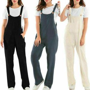 Women Corduroy Overalls Dungarees Casual Plain Pocket Jumpsuit Long Pants Solid