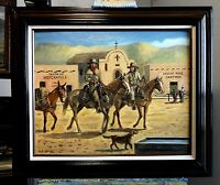 TRAPPERS ENTERING OLD SANTA FE original oil painting by Richard R. Nervig