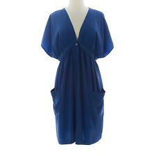 TOPSHOP MATERNITY Women's Blue Solid Button Up Tunic Dress 44D13Y US Size 8 NEW