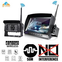 Digital Wireless IR Backup Camera 7'' LCD Rear View Monitor For Van Truck RV Bus