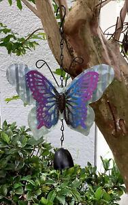 """Metal Garden Decor 3D Butterfly Garden Bell Wind Chime Musical 10"""" Hanging Bell"""