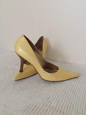 Kate Kuba Patent Shiny Leather Pointed Stiletto High Heel Court Shoes Yellow UK7