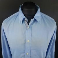 HUGO BOSS Mens Shirt XL Long Sleeve Blue Regular Fit No Pattern Cotton