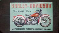 HARLEY-DAVIDSON Placa metalica litografiada anuncio publicidad 44x30 cm replica