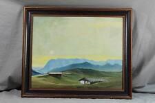älteres gemaltes Bild - Öl,Aquarell o.ä. auf Holz - Berglandschaft mit Hütten /H