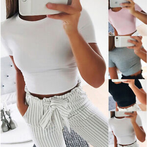 Women Casual Short Sleeve Blouse T-Shirt Bodycon Gym Yoga Crop Tank Top Sports