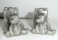 Pewter Christmas Salt and Pepper Shakers Teddy Bear and Gift