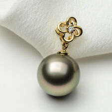 Silver Green Tahitian Sea Cultured Pearl Flower Pendant 14k Yellow Gold 10-11mm
