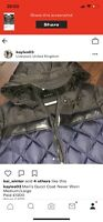 Mens gucci coat Navy & Black leather trim