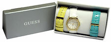 NEW GUESS ROCK CANDY GOLD LADY YELLOW WHITE BLUE LEATHER STRAP WATCH U0207L1 BOX