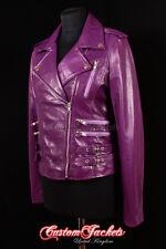 CATWALK LADIES LEATHER JACKET Purple Rock Star Biker Chic Leather Jacket 7113