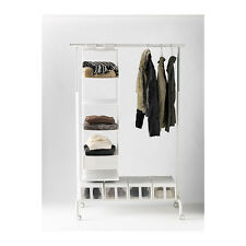 IKEA RIGGA ADJUSTABLE CLOTHES RAIL WITH SHOE RACK, WHITE