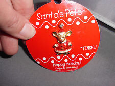 Santa's Pets Tinsel The Mouse Gold Tone Enamel Gigi Accessories Louis Giusti Pin