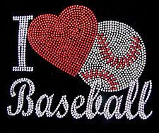 """HOTFIX RHINESTONES HEAT TRANSFER """"I LOVE BASEBALL"""""""