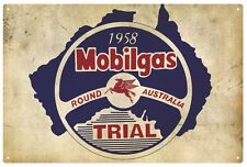 MOBILGAS 'ROUND AUSTRALIA TRIAL 1958'  RUSTIC  TIN SIGN  20 x 30 cm