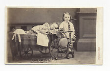 1860's-1870's CDV PHOTO GERMAN TIN TOY TRAIN, GIRL & DOLL RECLINE IN CARRIAGE
