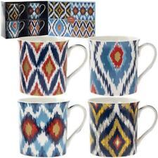 Set of 4 Incas Abstract Fine China Mugs Flowers Presentation Gift Box