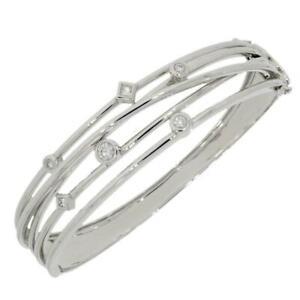 18ct White Gold Bangle Bracelet 0.49cts Raindance Style Diamond Set B181