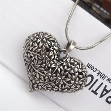 Vintage Womens Carved Silver Heart Flower Long Chain Pendant Necklace Girls Gift