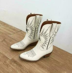 Women's Western Cowboy Boots Leather Pointed Toe Shoes Pull On Vintage EUR 34-40