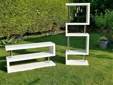 *DWELL* 2pc CONTOUR SLIM SHELVING & FLOOR UNIT High Gloss White/Chrome GC rp£898