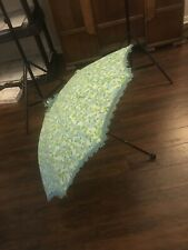 "38"" Round Floral Green Lace Parasol, Umbrella UV Sun Protection Summer Accessory"