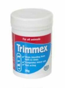 Hatchwells TRIMMEX 30g STOP BLEEDING Nails Claw Dog Cat Coagulant Styptic Powder