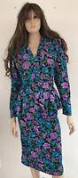Vintage Argenti 100% Silk Purple Blue Flower Print 2pc dress, Top & Skirt Size 4