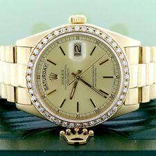 Rolex President Day-Date Gold Original Champagne Dial 36MM 18038 w/Diamond Bezel