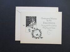 #K130- Vintage Unused Xmas Greeting Card Country Home in Winter & Bluebirds