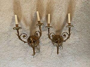 Vintage Pair Antique Brass Cherub Sconces