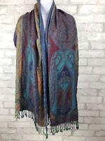 """Pashmina Style Scarf Blue Multicolor Women Wrap Shawl Paisley Fringe 75x19"""""""
