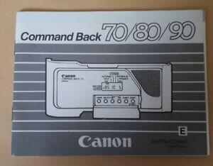 Original Instructions Manual/Book CANON COMMAND BACK 70/80/90 for SLR Cameras