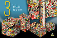 3 Sheets Gift Wrap Hotel Suitcase Stickers Pack Paper World Poster 50x70 cm