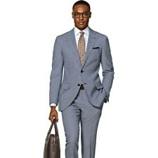 Suitsupply Lazio Light Blue Birdseye Wool Suit 40R
