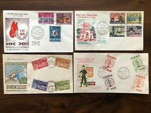 4 X VIETNAM OLD COVER COLLECTION LOT FDC SAIGON 1963 !!