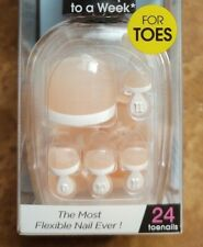 Kiss imPress Press-On Pedicure Fake Toe Nails iCandy White Tip French Manicure!