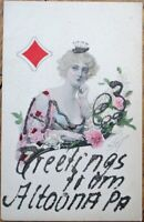 Playing Card 1905 Artist-Signed Postcard w/Queen of Diamonds - Altoona, PA