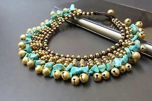 Turquoise Brass Bell Indy Anklet