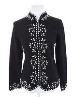Coldwater Creek 100% Pure Wool Black Full Zip Beaded Cardigan Sweater Women Sz S