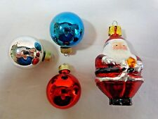 Miniature Christmas Tree Ornaments Lot of 4 Ball and Santa Glass Red Blue Silver