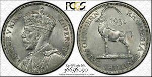 British Rhodesia, 1934 George V Two Shillings, 2 Shillings. PCGS AU 58.