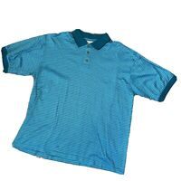 Lone Cypress Pebble Beach Large Teal Green Polo Shirt Casual Golf Mens