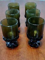 FRANCISCAN MADEIRA TIFFIN GLASS DARK GREEN FOOTED JUICE GOBLET SET OF 6