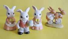 Vint. Homco/Home Interiors Porcelain Bunny Easter #1484 & 1975 Tiny Talk Bunnies