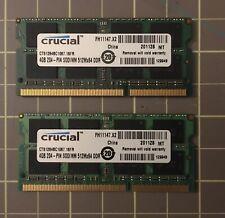 CRUCIAL 4GB SODIMM 512MX64DDR Laptop Memory CT51264BC1067 8SDA Lot of 2