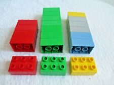 20 used Lego Duplo 2X3 Brick blocks 8 green 5 red 3 gray 2 blue 2 yellow