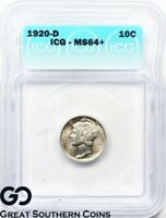 1920-D Mercury Dime Icg MS 64+ ** Should Be Full Split Bands, Re-Submit!