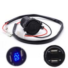 12V Car Blue LED light 3.1A Dual USB Charger Socket Voltage Voltmeter Motorcycle