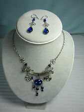 Peru Glass Earrings and Necklace Set Blue Murano Glass Nickel Siver New